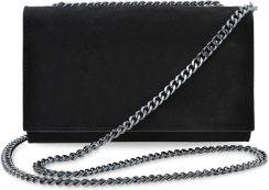 3c46bd3bc5ee Elegancka kopertówka na łańcuszku wizytowa torebka damska skóra naturalna  zamsz - czarny