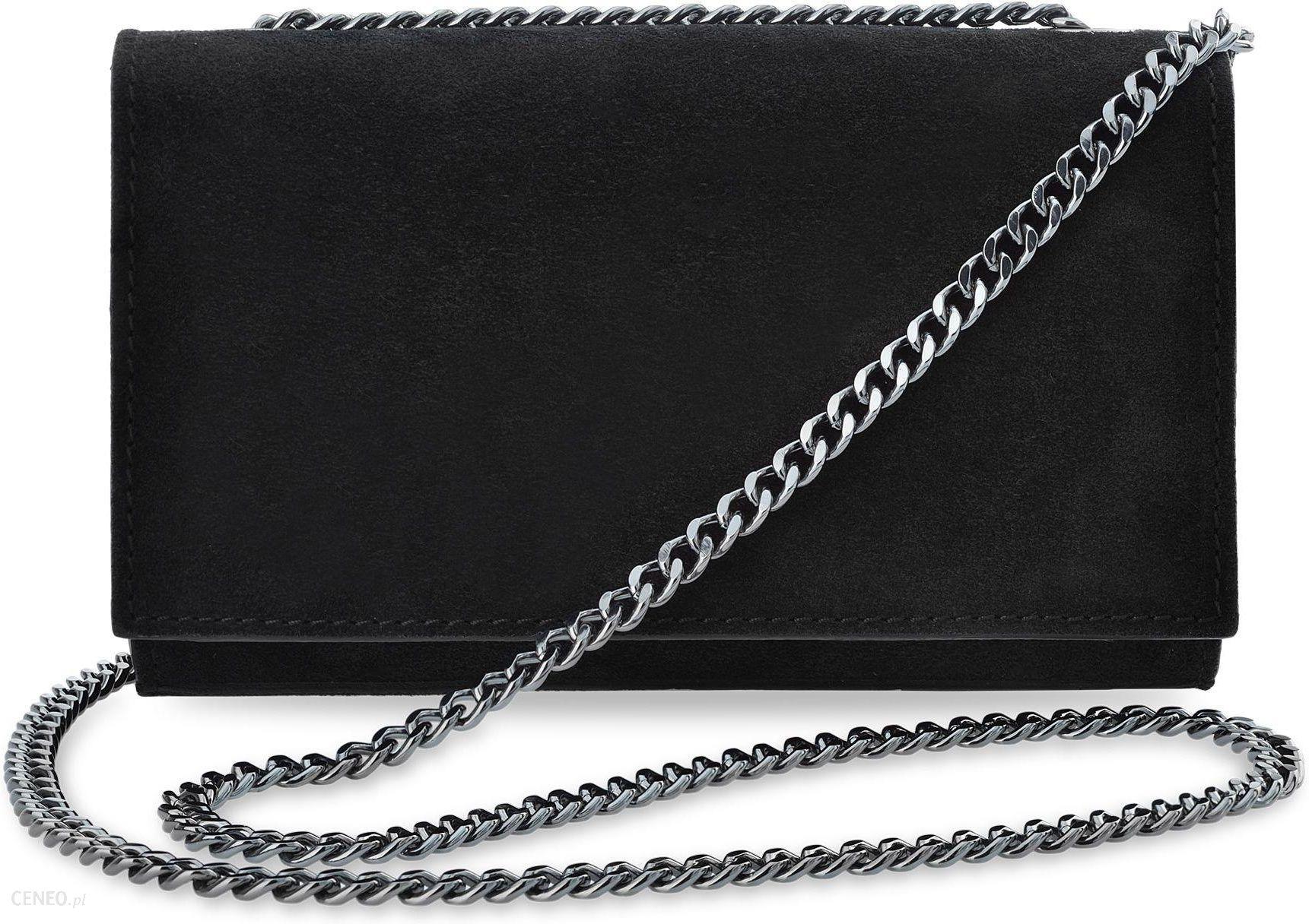 0632fec99e9d9 Elegancka kopertówka na łańcuszku wizytowa torebka damska skóra naturalna  zamsz - czarny - zdjęcie 1
