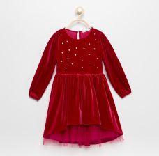 26d97f116a Reserved - Welurowa sukienka z tiulem - Fioletowy