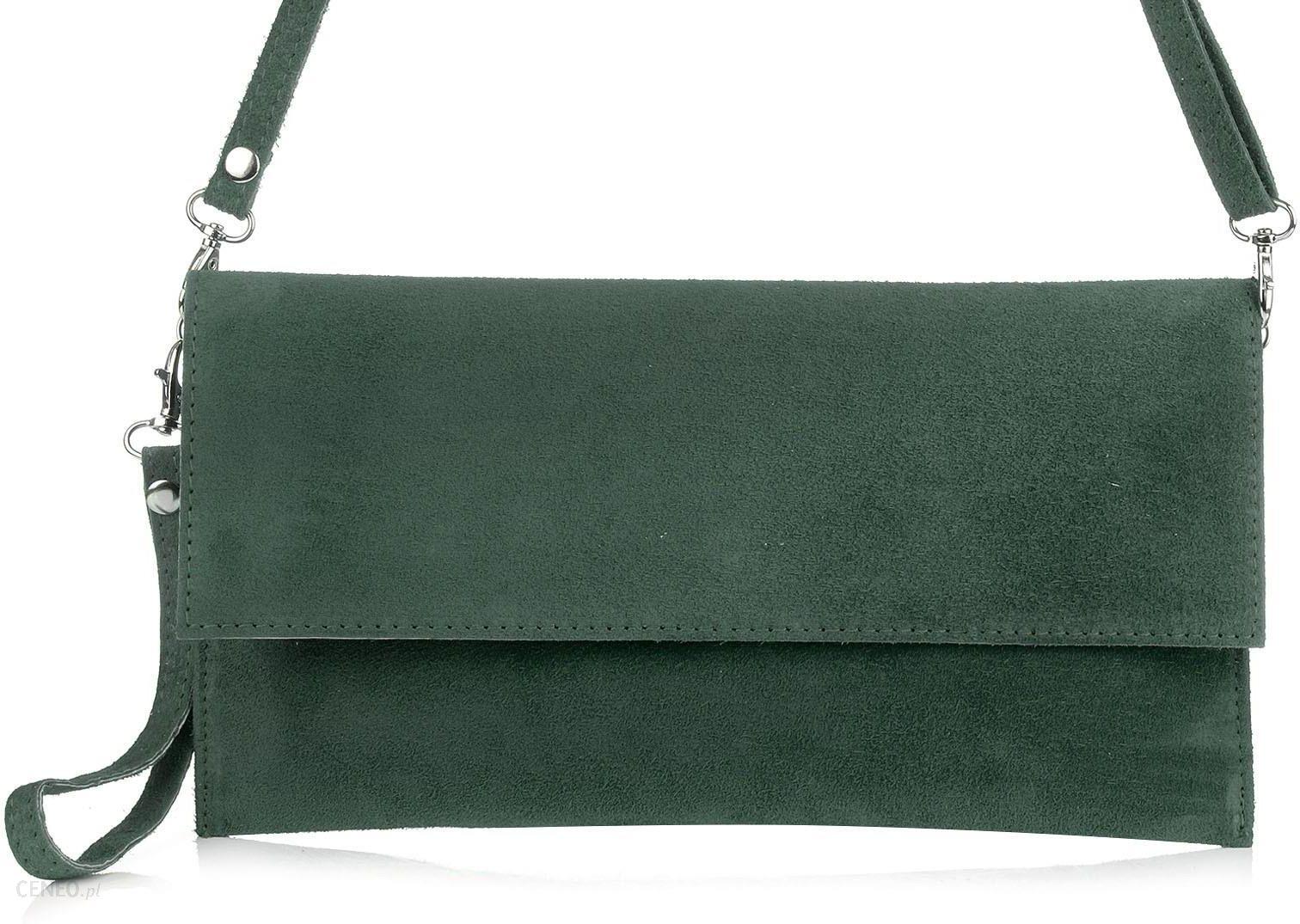 Zamszowa Włoska Skórzana torebka kopertówka klapa N09