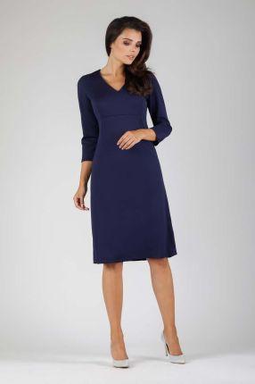 8cdccc1849 Granatowa Trapezowa Wizytowa Sukienka Midi z Kieszeniami