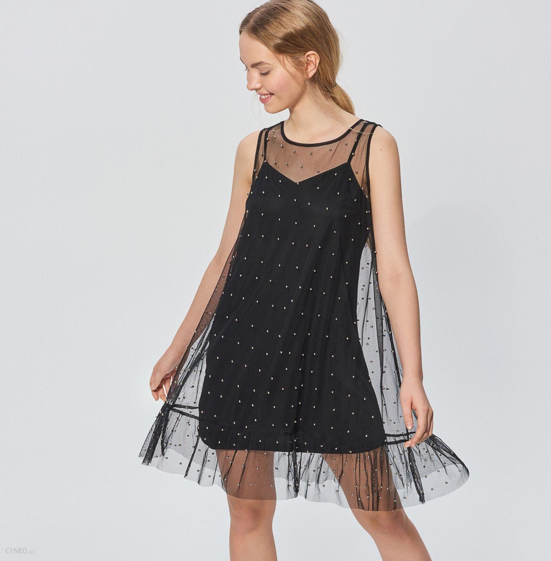 be95d1bc48620d Cropp - Sukienka ze sztucznymi perłami - Czarny - Ceny i opinie ...