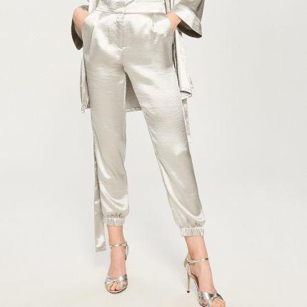 7c2d2cd5008f91 Reserved - Szerokie spodnie z paskiem - Kremowy - Ceny i opinie ...