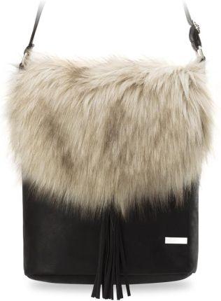 5456bfe242642 Oryginalna listonoszka torebka damska z futerkiem i frędzlami produkt  polski - czarno-beżowy