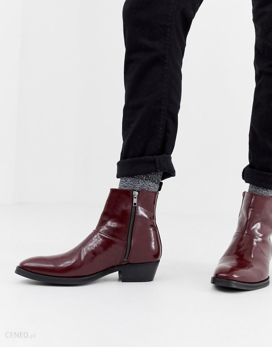 6402a7594e7b ASOS DESIGN cuban heel western chelsea boots in burgundy leather - Red -  zdjęcie 1
