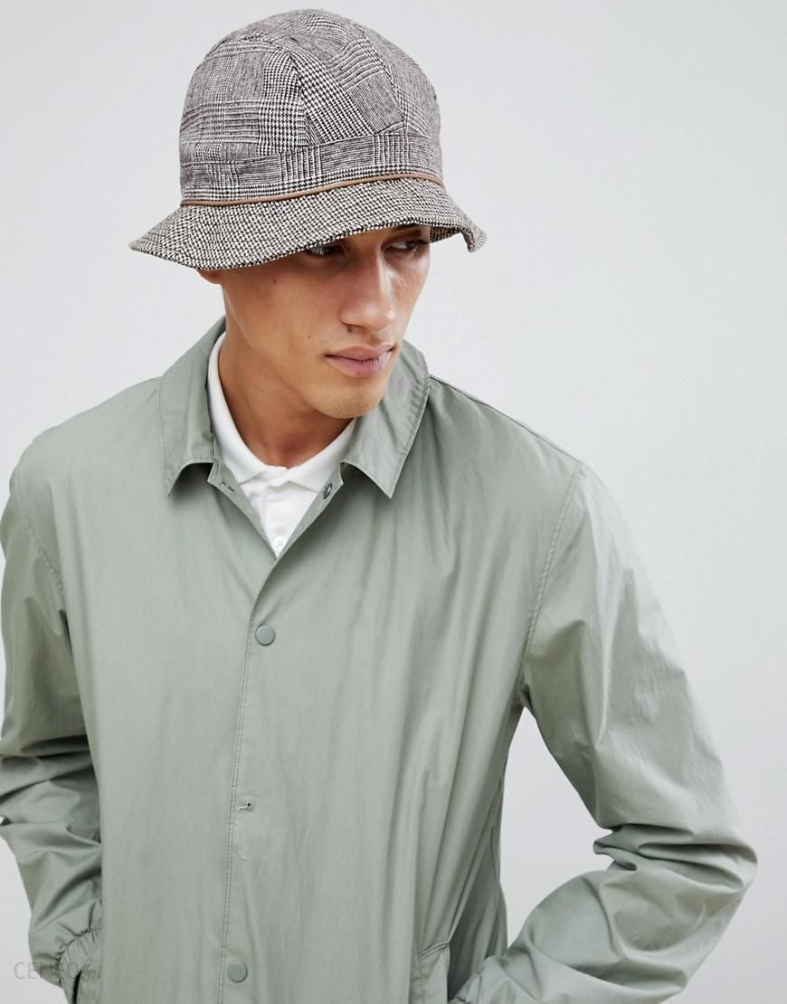 ef09aa97db6 ASOS DESIGN bucket hat with contrast check panelling - Brown - zdjęcie 1