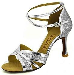 Women's Latin Shoes Salsa Shoes Sparkling Glitter Leatherette Sandal Heel Buckle Ribbon Tie Customized Heel Customizable Dance Shoes Gold Bl