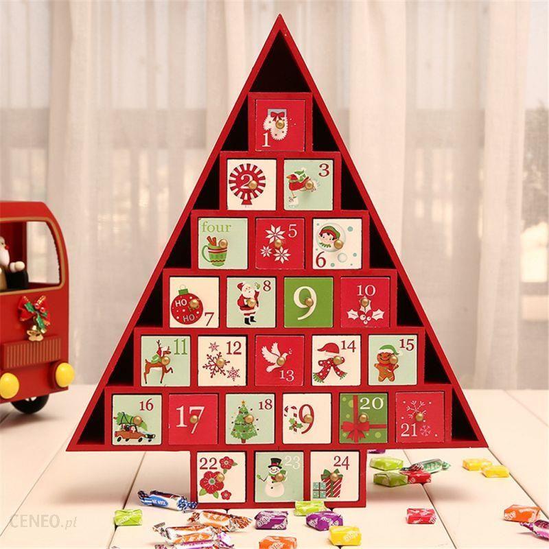 Wooden Advent Calendar Train Elk Sleigh Xmas Tree Christmas Decor Desk Ornament