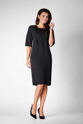 8b4758c063 Czarna Elegancka Prosta Sukienka z Asymetrycznym Zapięciem