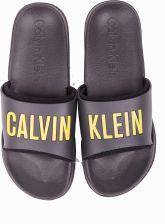 6de27a7108c1e Calvin Klein ciemno szare klapki Slide Fordeg Iron z zielonym napisem -  37/38