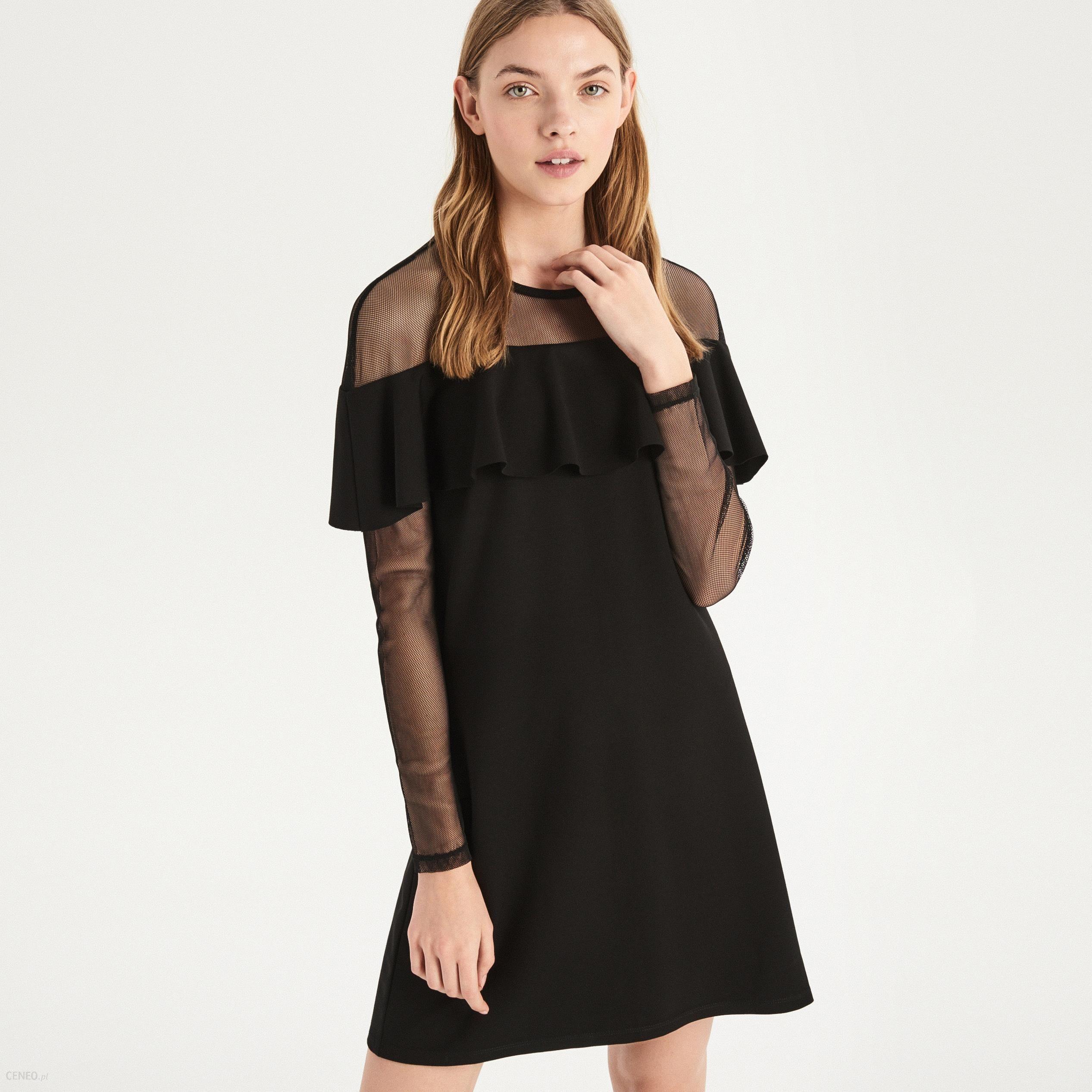 Sinsay Sukienka mini z falbaną Czarny Ceny i opinie