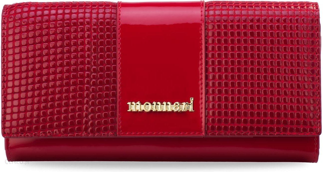 a1ae81c12987e Elegancki portfel monnari portmonetka damska lakierowana skóra 3d – czerwony  - zdjęcie 1