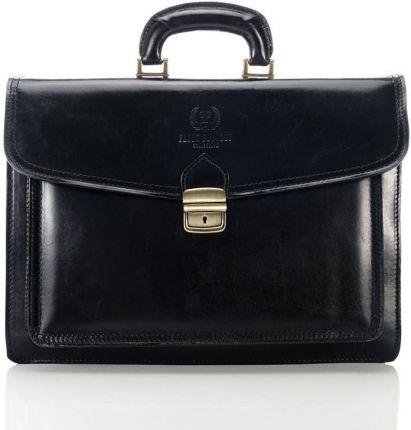 28ade1dd3f6ad Ekskluzywna torba skórzana Paolo Peruzzi Vintage 045TM czarna gładka ...