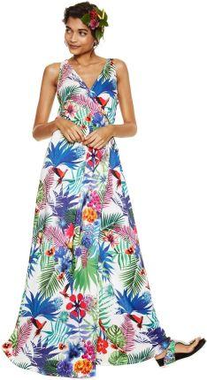 0886031add Desigual kolorowa sukienka Jasmine z tropikalnymi motywami - S
