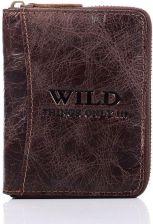 0057db3b1670 Skórzany portfel męski na zamek Wild things Only GA183 brązowy - brązowy