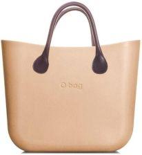 295680ee5d711 O bag torebka MINI Champagne z brązowymi krótkimi uchwytami ze skajki