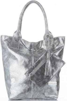 bde9457a97075 Vittoria Gotti Elegancki Skórzany Shopper z Etui w rozmiarze XL Srebrny  (kolory) ...