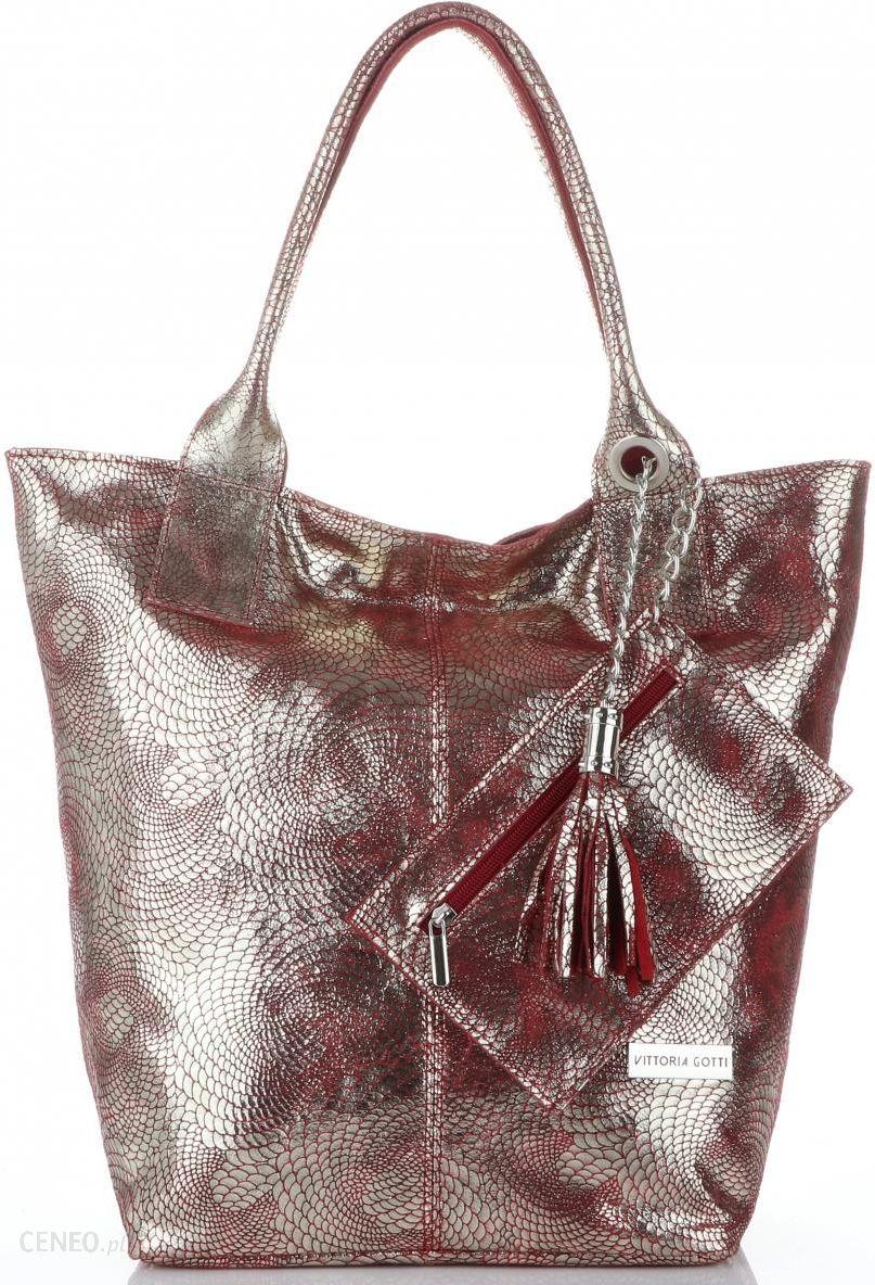 a30efa87e7aa9 Vittoria Gotti Eleganckie Torebki Damskie Skórzany ShopperBag z Etui w  rozmiarze XL Czerwone ze złotem (