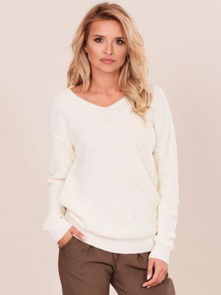 23337c1f236184 Cropp - Gładki sweter - Kremowy - damski - Ceny i opinie - Ceneo.pl