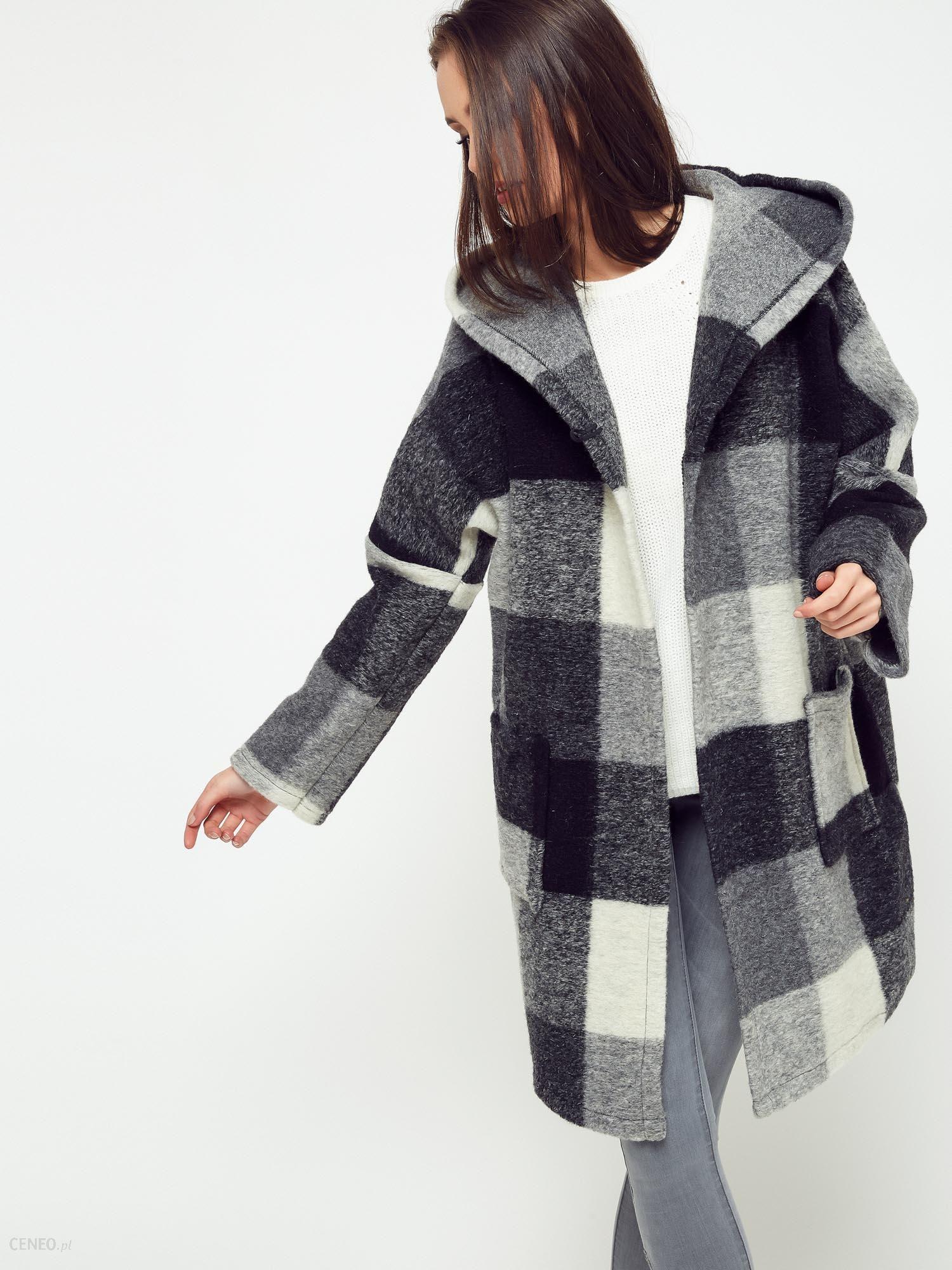 dd9362c653320 Płaszcz w kratkę oversize z kapturem szaro - czarny - Ceny i opinie ...