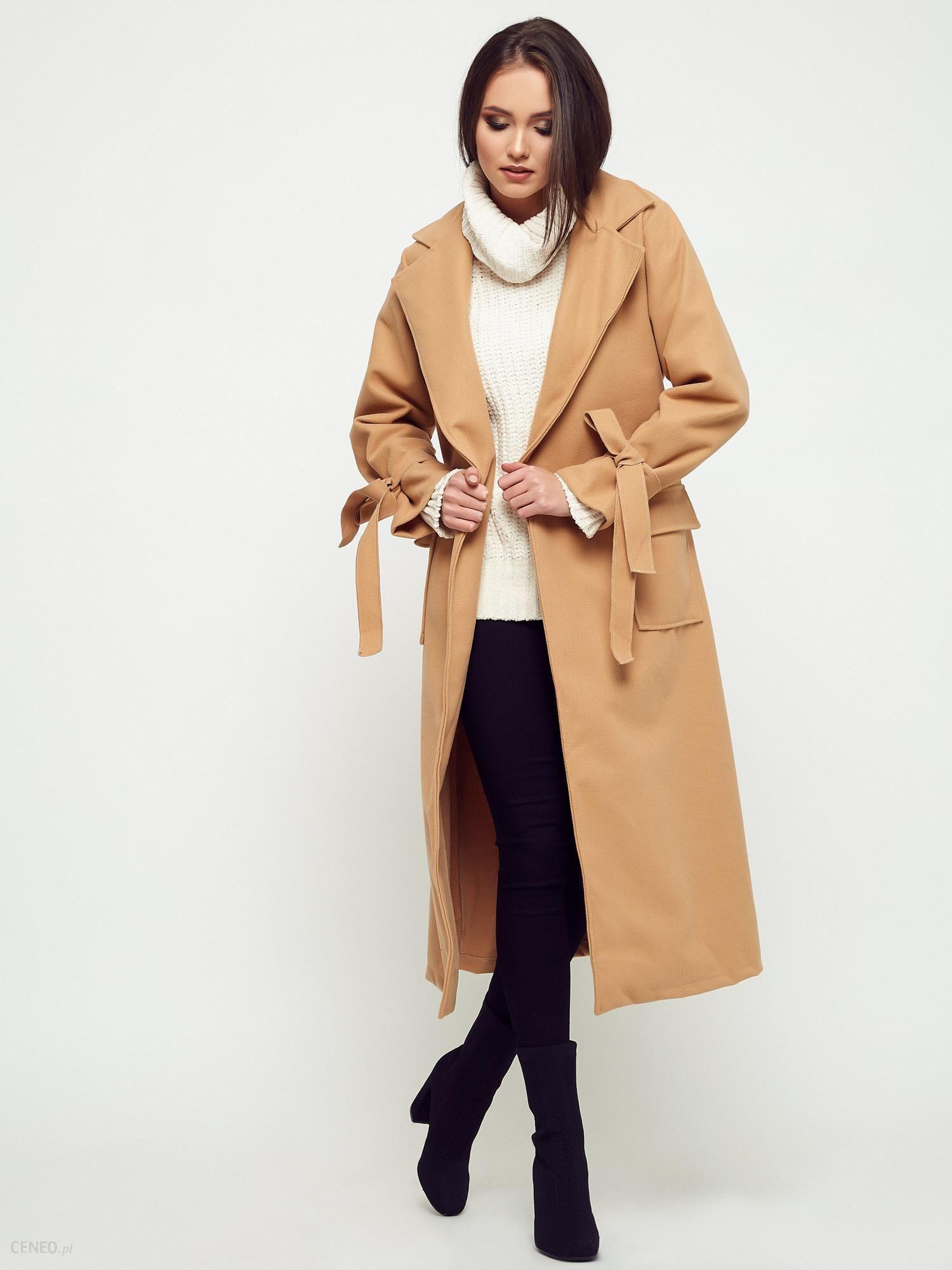 Płaszcz damski z flauszu długi beżowy