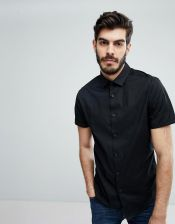 7a0f5494e ASOS DESIGN skinny shirt in black with short sleeves - Black - Ceneo.pl