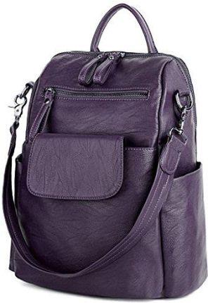 c3f8ebc45fadf Amazon UTO damski plecak Purse PU wyprana skóra Ladies plecak torba na  ramię czarna, kolor