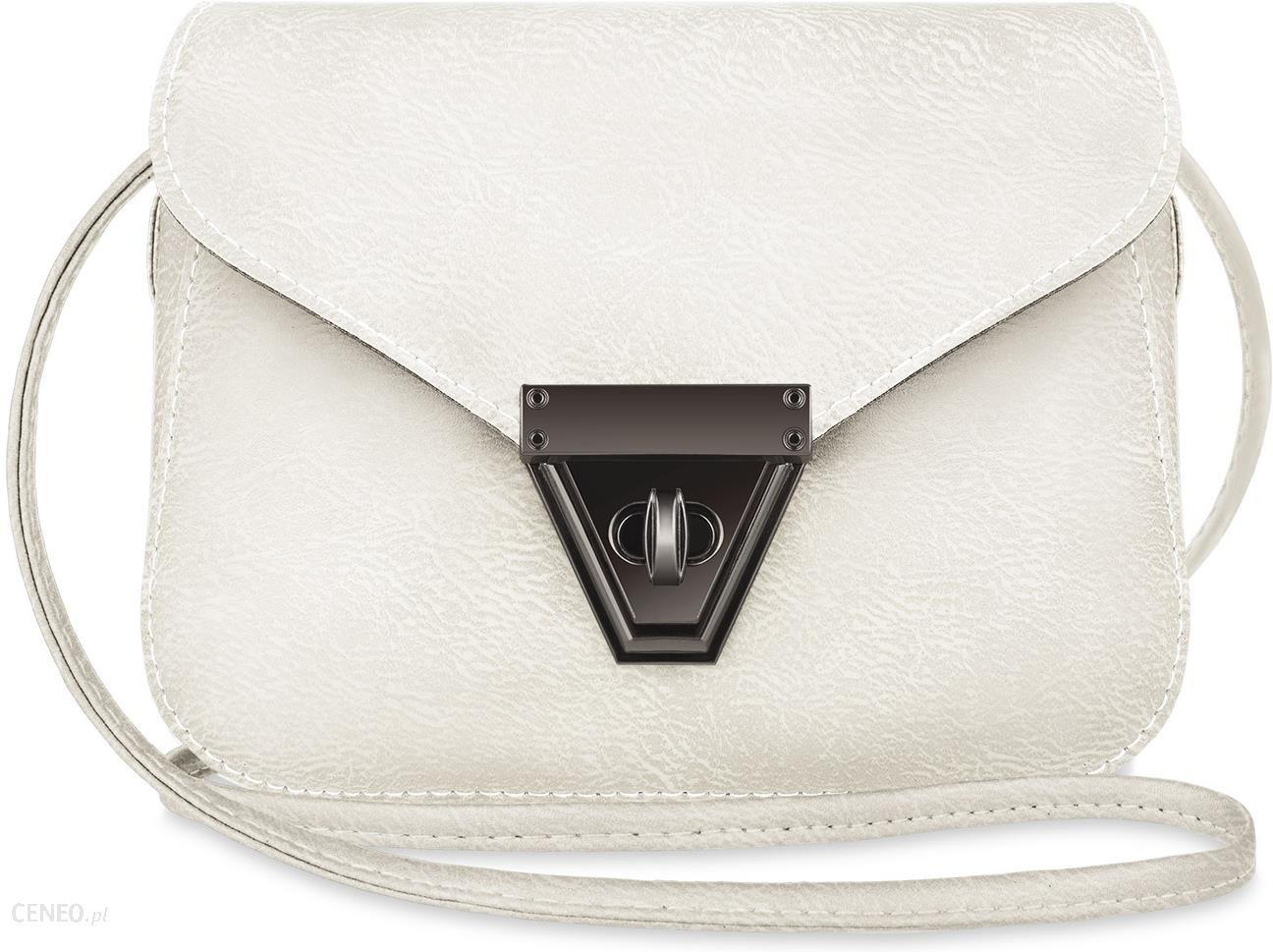 7db8d444f3e48 Urocza mała torebka damska listonoszka przewieszka z klapką - kremowy -  zdjęcie 1