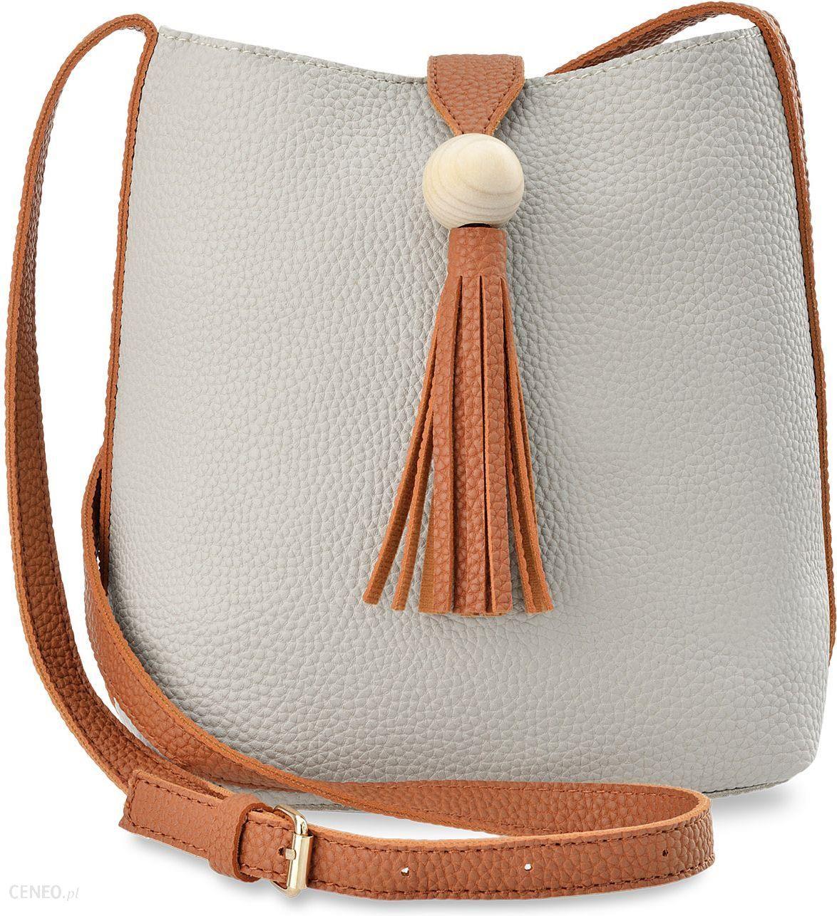 b5ce2b0f6b423 Dwukolorowa torebka damska listonoszka przewieszka z frędzlami w stylu boho  - szaro-brązowy - zdjęcie