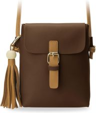 c2ba16b3d6192 Mała stylowa listonoszka torebka damska z klapą ozdobne frędzle - brązowy
