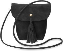fae4528bb9a28 Poręczna torebka damska listonoszka z klapą frędzle - czarny