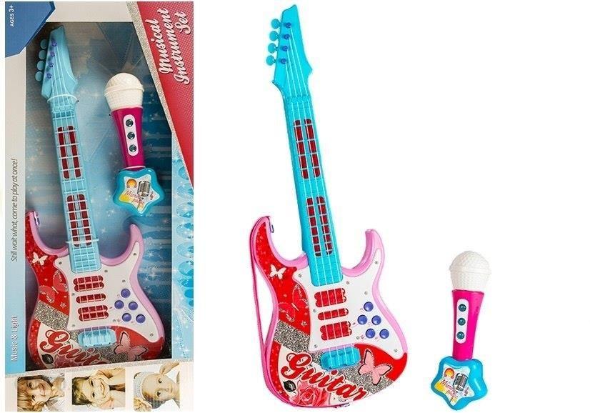 Liesų žaislų elektrinė gitara su mikrofono stygomis žaislinės rožės 3362