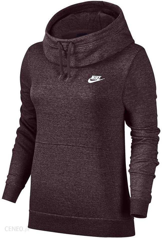 Bluza damska NSW Funnel Neck Hoodie Nike (bordowa) Bluzy
