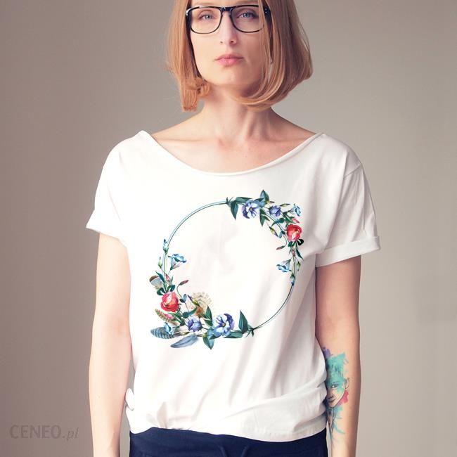 080e50e42 ONE MUG A DAY Kwiaty wianek biały oversize koszulka tshirt biały - zdjęcie 1