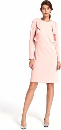 0212684821 Różowa Elegancka Wizytowa Sukienka z Pionowymi Falbankami