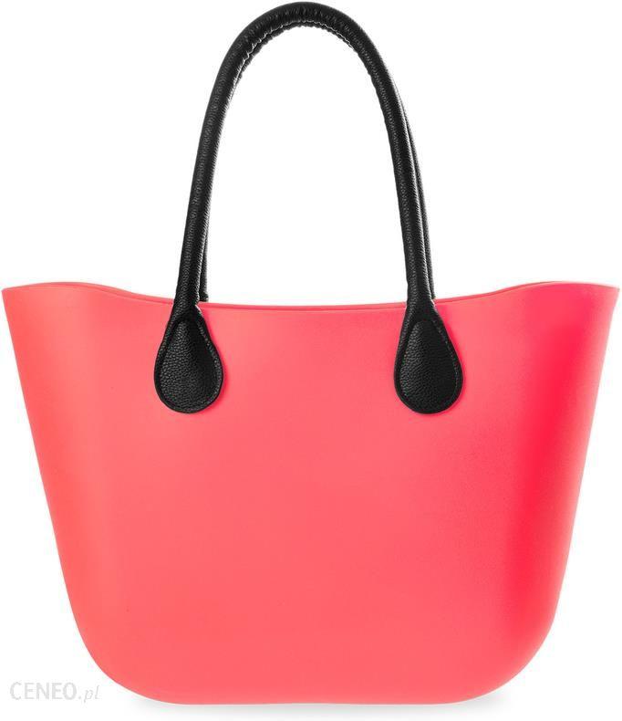 87a9ac482aae6 Duża silikonowa torebka damska gumowa torba stylowy shopper jelly bag -  neonowy róż - zdjęcie 1
