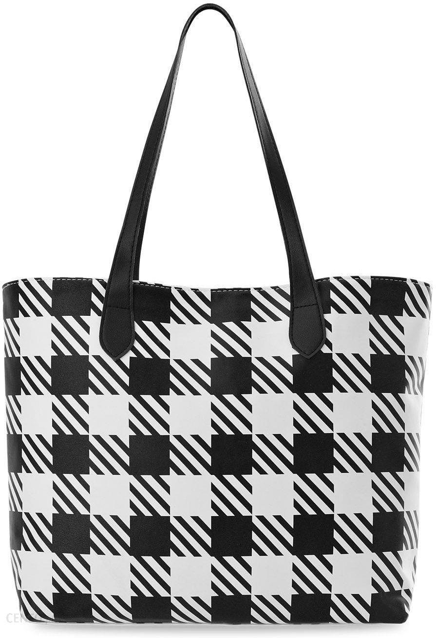 878ceba1523ab Duża shopperka pojemna torebka damska torba w kratę tote bag - biało-czarna  - zdjęcie