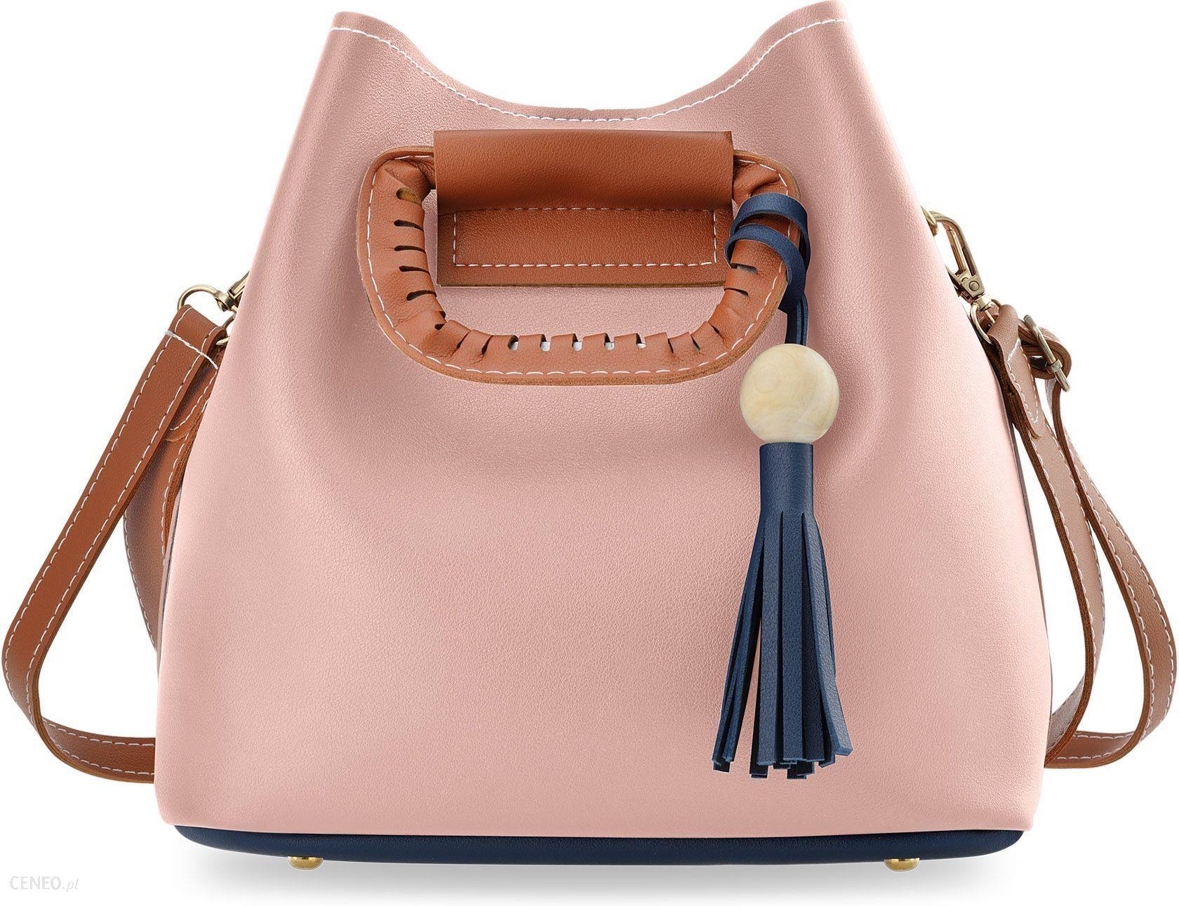 95027991022b2 Kolorowa shopperka torebka damska typu sakwa worek do ręki i na ramię -  granatowo-różowa