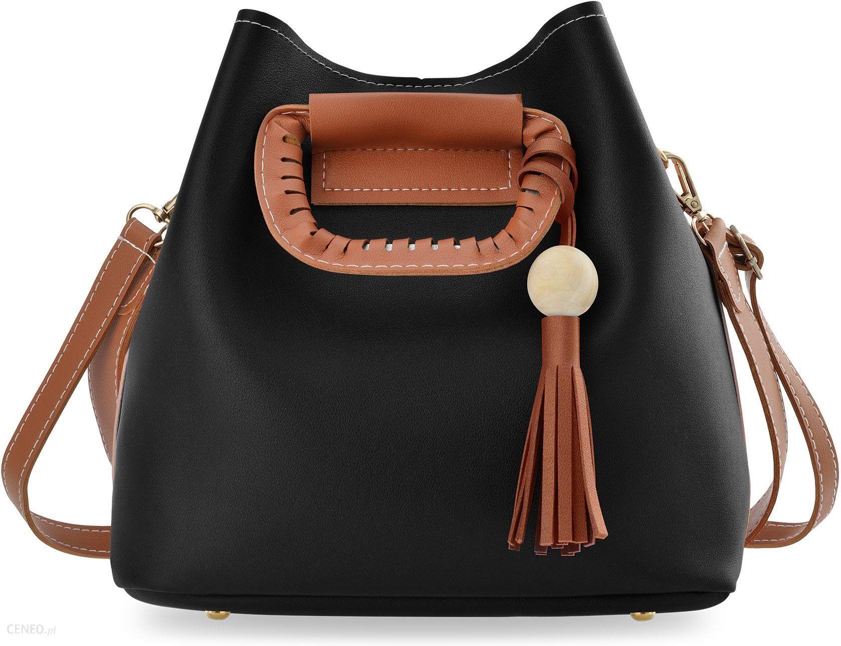 1f1262f194266 Kolorowa shopperka torebka damska typu sakwa worek do ręki i na ramię -  czarno-brązowa