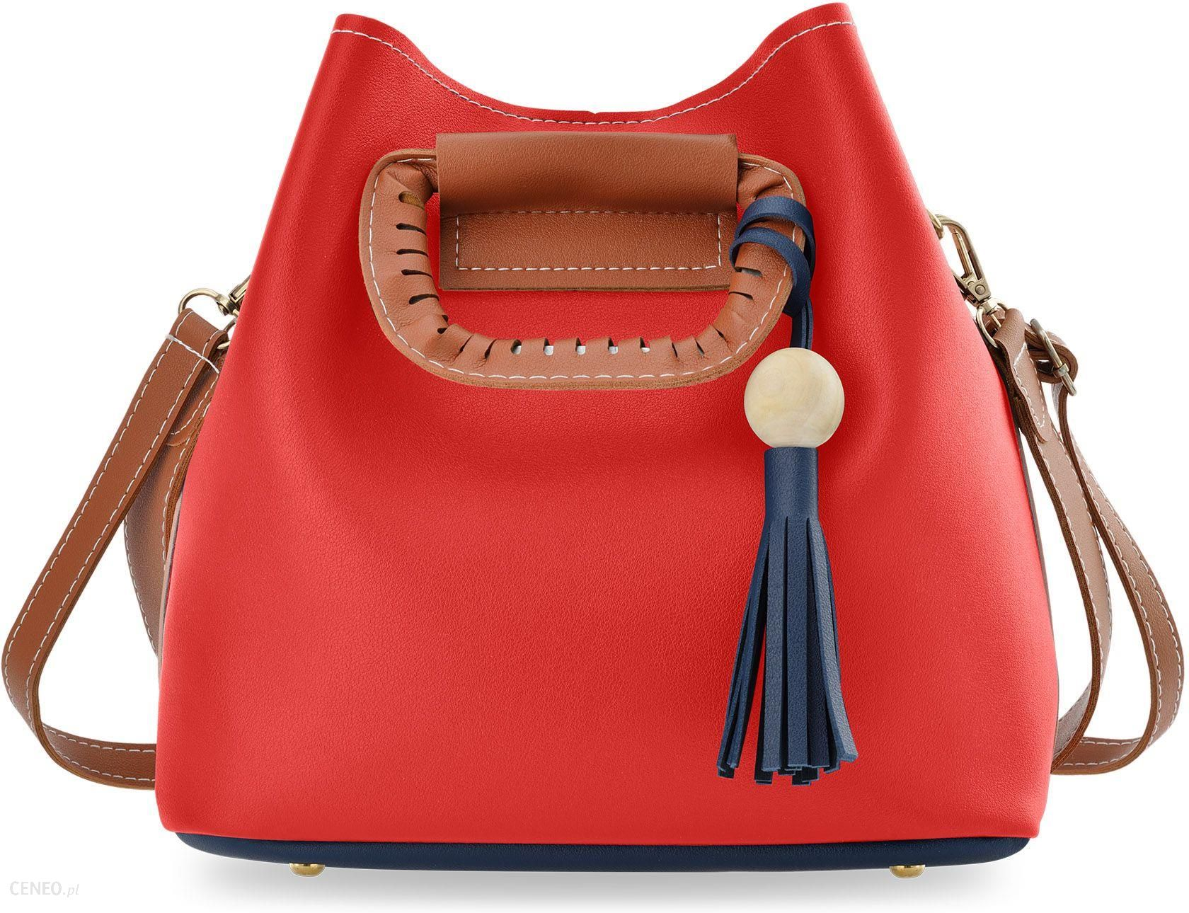 2da0701d4b093 Kolorowa shopperka torebka damska typu sakwa worek do ręki i na ramię -  granatowo-czerwona