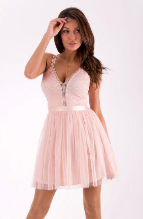 456fd8b05a Lily McBee Sukienka Pudrowy Róż Ramiączka Tasiemki