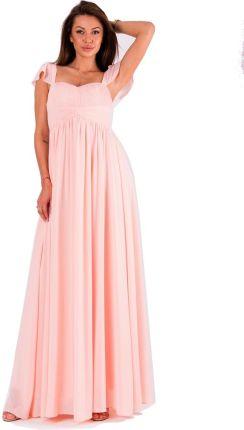 3d2ac5894e Długa Sukienka Pudrowy Róż Na Ramiączkach Falbanka