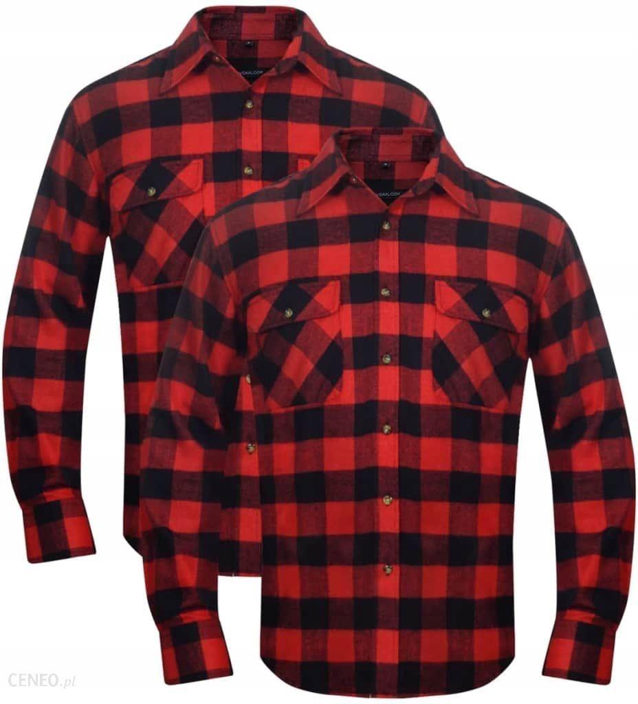 2 Męskie koszule flanelowe w czerwono czarną kratę Ceny i  WQT5y