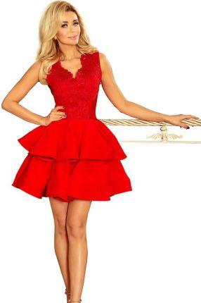 759dee2de1 Elegancka sukienka koktajlowa z falbaną z boku L Czerwony - Ceny i ...