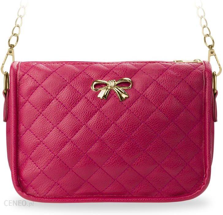2c080949c1961 Mała pikowana torebka damska młodzieżowa na ramię na łańcuszku chanelka -  różowy - zdjęcie 1