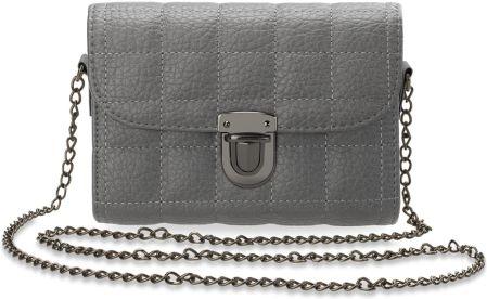 9a70e15892ee2 Mała chanelka pikowana torebka damska listonoszka kuferek łańcuszek -  popielaty