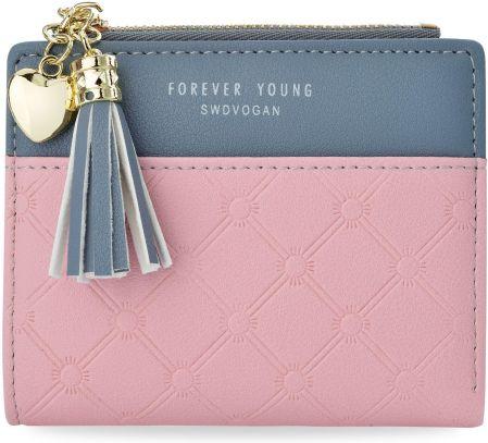 1c3a8b5198095 Urocza dziewczęca portmonetka mały portfel damski z breloczkiem - różowy.  Kup teraz