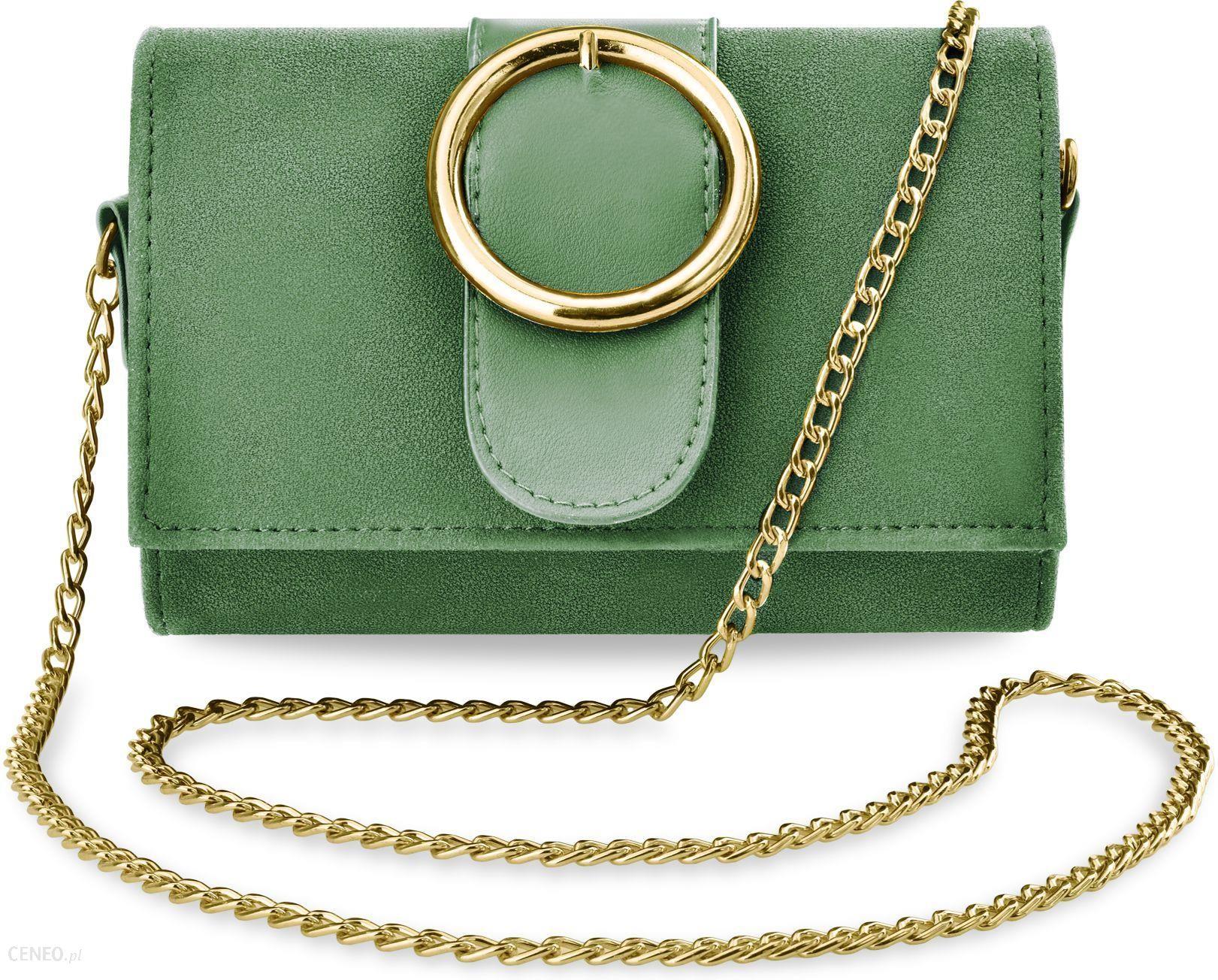 46d96cf3b14d9 Elegancka listonoszka z klapą torebka damska kopertówka na łańcuszku z  klamrą nubuk - zielony - zdjęcie
