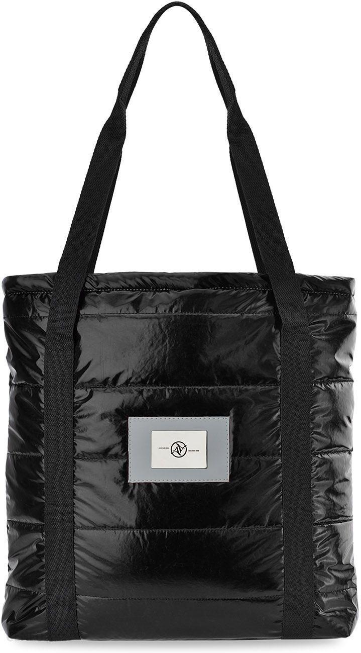 8376dd25f3a73 Pikowana torebka damska shopper bag na ramię metaliczne wykończenie - czarny  - zdjęcie 1