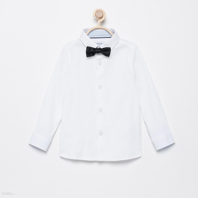 Reserved Elegancka koszula z muchą Biały Ceny i opinie  3WUWF